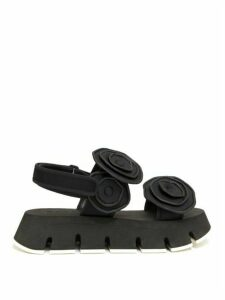 Marni - Floral-appliqué Neoprene Flatform Sandals - Womens - Black