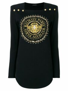 Balmain logo cord sweater - Black