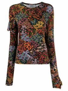 Preen By Thornton Bregazzi floral print ruffle back top - Black