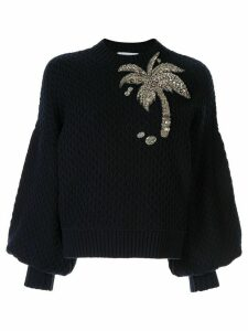 Dice Kayek Embellished Palm Tree jumper - Blue