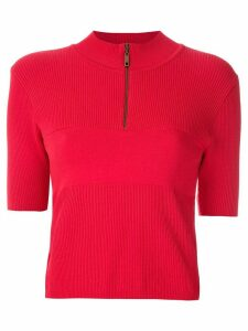 Andrea Bogosian funnel neck knit blouse - Red