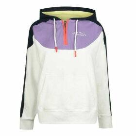 Jack Wills Capton Colour Block Half Zip Hoodie - White