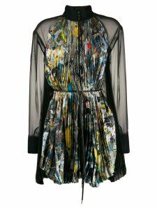 Sacai brush-stroke print blouse - Black