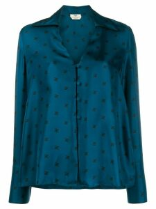 Fendi Karligraphy motif printed silk shirt - Blue