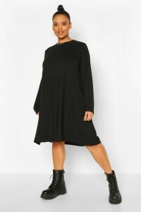 Womens Plus Jumbo Rib Swing Dress - black - 20, Black
