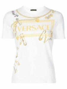 Versace jewelled pins print T-shirt - White