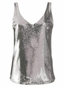 Blanca Vita sequined V-neck tank top - Grey