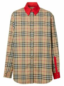 Burberry contrast trims Vintage Check shirt - NEUTRALS