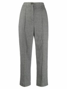 Chalayan houndstooth print cropped trousers - Black