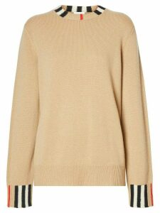 Burberry Icon stripe trim jumper - NEUTRALS