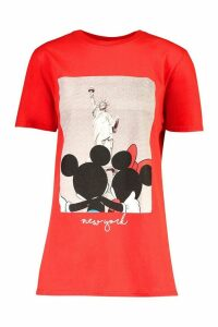 Womens Disney Mickey & Minnie New York T-shirt - red - M, Red