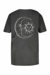 Womens Plus Sun & Moon T-Shirt - Black - 22, Black