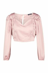 Womens Petite Tie Detail Volume Sleeve Satin Top - pink - 4, Pink