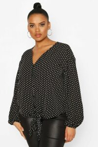 Womens Plus Diamond Print Tie Front Blouse - black - 22, Black