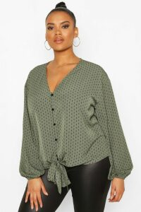 Womens Plus Diamond Print Tie Front Blouse - green - 18, Green