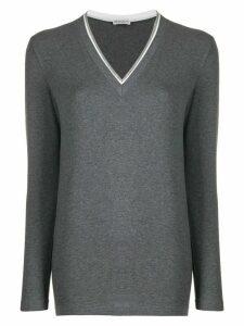 Brunello Cucinelli beaded-neckline top - Grey