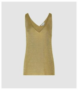 Reiss Alexis - Metallic Knitted Top in Gold, Womens, Size XL