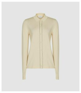 Reiss Ida - Stitch Detail Button Through Top in Ivory, Womens, Size XL