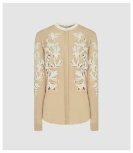 Reiss Jodie - Semi-sheer Lace Detailed Blouse in Nude, Womens, Size 16