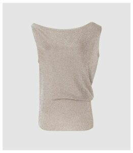 Reiss Brigette - Draped Knitted Tank Top in Silver Grey, Womens, Size XL