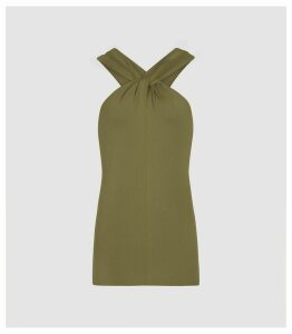 Reiss Brooke - Twist Neck Top in Khaki, Womens, Size XL