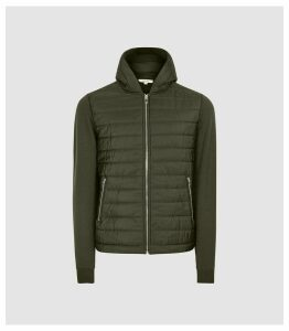 Reiss Basing - Hybrid Quilted Zip Through Hoodie in Green, Mens, Size XXL