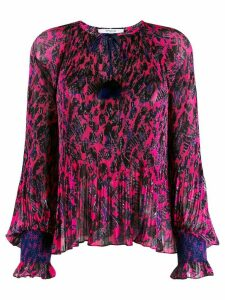 Derek Lam 10 Crosby Helena Pleated Speckled Floral Blouse - PINK