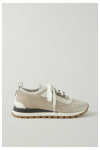 Brunello Cucinelli - Bead-embellished Metallic Stretch-knit, Suede And Leather Sneakers - Taupe