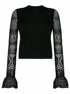 Alexander McQueen crochet sleeve knit top - Black