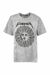 Womens Petite Acid Wash Forever Sun T-Shirt - Black - 10/12, Black