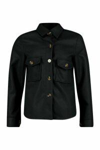 Womens Petite Wool Look Oversize Shirt Jacket - black - 14, Black