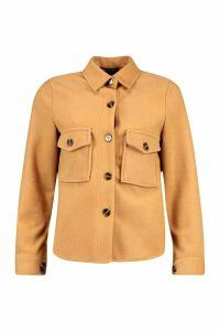 Womens Petite Wool Look Oversize Shirt Jacket - Beige - 8, Beige