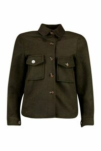 Womens Petite Wool Look Oversize Shirt Jacket - Green - 12, Green