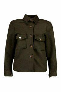 Womens Petite Wool Look Oversize Shirt Jacket - green - 14, Green