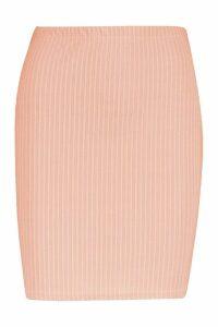 Womens Basic Ribbed Mini Skirt - Orange - 10, Orange