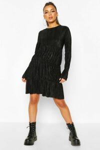 Womens Pleated Long Sleeve Tiered Smock Dress - black - 18, Black