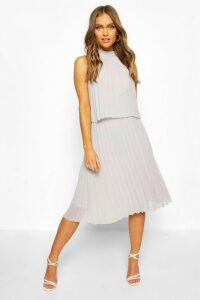 Womens Occasion Pleated Double Layer Midi Dress - grey - 10, Grey