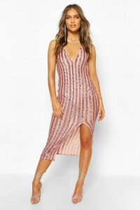 Womens Occasion Sequin Stripe Midaxi Dress - Pink - 18, Pink
