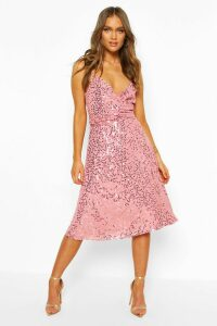 Womens Bridesmaid Occasion Sequin Detail Midi Dress - Pink - 18, Pink