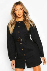Womens Volume Sleeve Belted Denim Dress - black - 16, Black