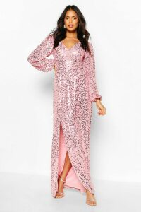 Womens Bridesmaid Occasion Sequin Plunge Maxi Dress - Pink - 16, Pink