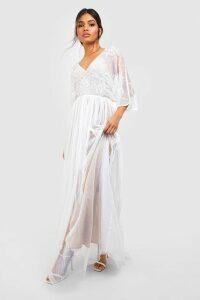 Womens Bridesmaid Hand Embellished Kimono Mesh Maxi - white - 16, White