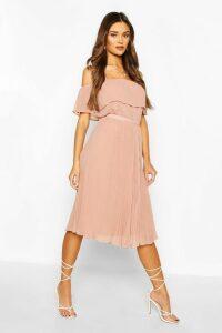 Womens Chiffon Pleated Mix And Match Midi Skirt - Pink - 6, Pink