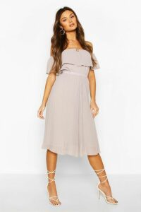 Womens Chiffon Pleated Mix And Match Midi Skirt - Grey - 10, Grey