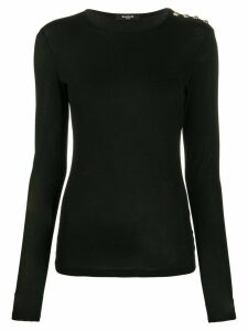 Balmain button detail long-sleeve T-shirt - Black