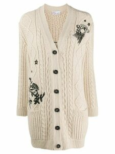 RedValentino embroidered cardigan - NEUTRALS