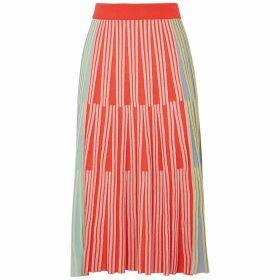 Kenzo Colour-blocked Ribbed-knit Midi Skirt