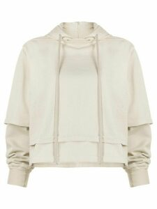 Rick Owens DRKSHDW double-layer cotton hoodie - NEUTRALS
