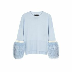 Izaak Azanei Blue Fur-trimmed Wool And Cashmere-blend Jumper