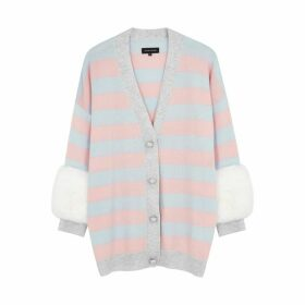 Izaak Azanei Striped Wool And Cashmere-blend Cardigan